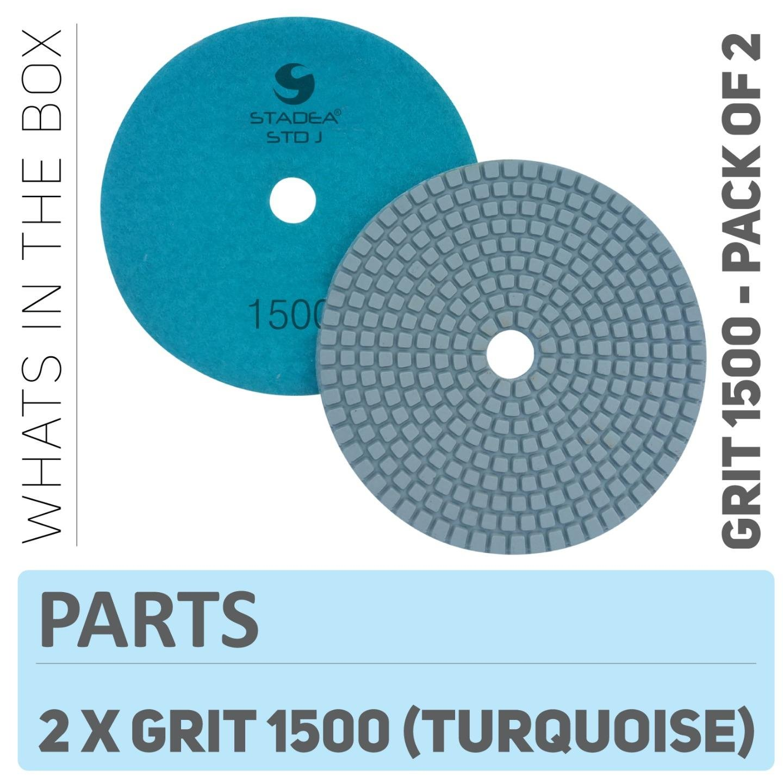 "Stadea PPW216D Diamond Polishing Pads 5"" For Concrete Terrazzo Marble Granite Countertop Floor Wet Polishing, Grit 1500 - Pack of 2"