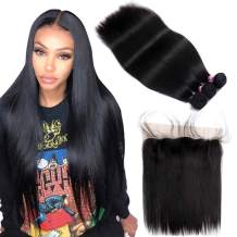 """FQ Peruvian Straight Hair 3 Bundles with Frontal Closure(18""""20""""22""""+frontal 16"""")10A Unprocessed Straight Human Hair Bundles with Frontal 13x4 Ear To Ear Bundles with Frontal Closure 4 Bundles Deals"""