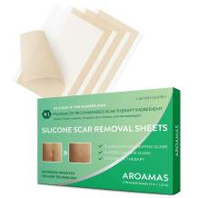 """Aroamas, Silicone Scar Removal Sheets - for Keloid, C-Section, Hypertrophic, Surgical Scars and More Reusable and Washable 3""""×1.57"""", 4 Sheets (2 Month Supply)"""
