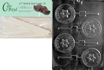 Cybrtrayd Happy Chanukah Star Lolly Chocolate Candy Mold with 25 4.5-Inch Lollipop Sticks and Exclusive Cybrtrayd Copyrighted Chocolate Molding Instructions