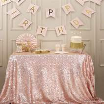 """Juya Delight 50"""" x 80"""" Rose Gold Sequin Tablecloth Rectangle for Wedding Birthday Party Festival Ceremony Cake Dessert Table"""