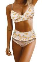 LAZOSAL Womens Ruffle Layered Two Piece Swimsuits Printed Tummy Control Tankini with Shorts