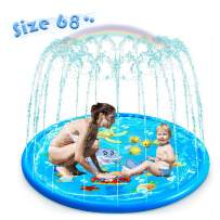 """Water Play Toys, Sprinkler Pad Splash Play Mat (68"""") Party Outdoor Toy(Extra Durable)Infant Wading Pool Fun Summer Water Toys for Kids Baby and Toddler"""