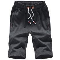 FoxQ Men's Shorts with Zipper Pockets Summer Loose Casual Sports Elastic Waist Drawstring