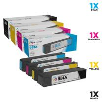 LD Remanufactured Ink Cartridge Replacement for HP 981A (Black, Cyan, Magenta, Yellow, 4-Pack)