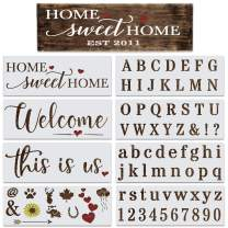 Letter Stencils for Painting on Wood Reusable - Alphabet & Number Stencil Set with This is Us, Home Sweet Home and a Welcome Stencil for Signs & Unique DIY Crafts - Stencil Set for Painting & Drawing