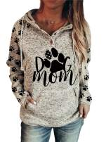 Women's Mama Bear Print Hoodie, Long Sleeve Lightweight Sweatshirt for Women