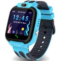 Kids Smart Watch Phone with GPS/LBS Tracker, Smartwatch for Boys Girls 3-12 Years Two Way Calling Watches with HD Touchscreen SOS Camera Clock Math Game (Blue)