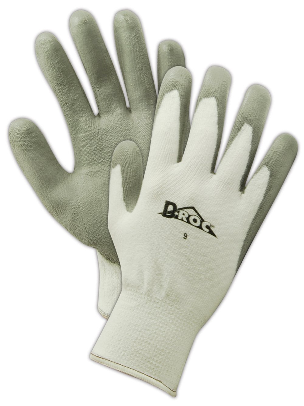 Magid D-ROC GPD570 Polyethylene/Polyester Glove, Gray Polyurethane Palm Coating, Knit Wrist Cuff