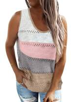 BLENCOT Women's Scoop Neck Knit Tank Tops Casual Loose Sleeveless Cami Blouse Shirts