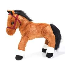 Plushland 14 Inches Soft Brown and Black Horse Stuffed Animal Toy Gift for Baby Boys Girl Holidays Birthday Christmas Halloween Thanksgiving Back to School ADHD Autism Handmade Present Sleep Companion