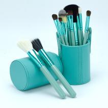 Professional Core Makeup Brush 12 Pcs Set Foundation Blending Blush Eyeliner Powder Brush APL1247, Ocean Green