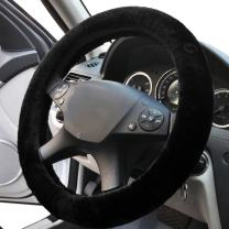 Black Sheepskin Steering Wheel Cover- Zone Tech Plush Stretch On Vehicle Faux Sheepskin Steering Wheel Cover Classic Black Car Wheel Protector