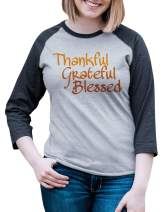 7 ate 9 Apparel Women's Thankful Grateful Blessed Thanksgiving Raglan