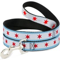 Buckle-Down Dog Leash Chicago Flag Available in Different Lengths and Widths for Small Medium Large Dogs and Cats