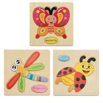 MISS FANTASY Wooden Animal Insect Jigsaw Puzzles for Toddlers(3 pcs) Boys &Girls Educational Toys Gift with 23 Patterns, Bright Vibrant Color Shapes (Insect)