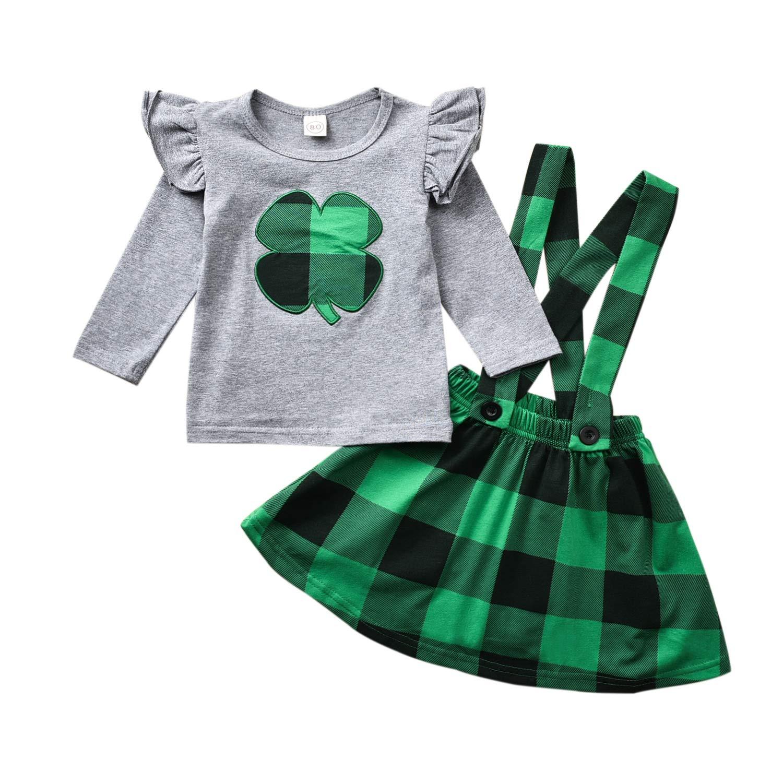 Toddler Baby Girls St Patrick's Day Outfits Suspender Skirt Shamrock Clover Dresses