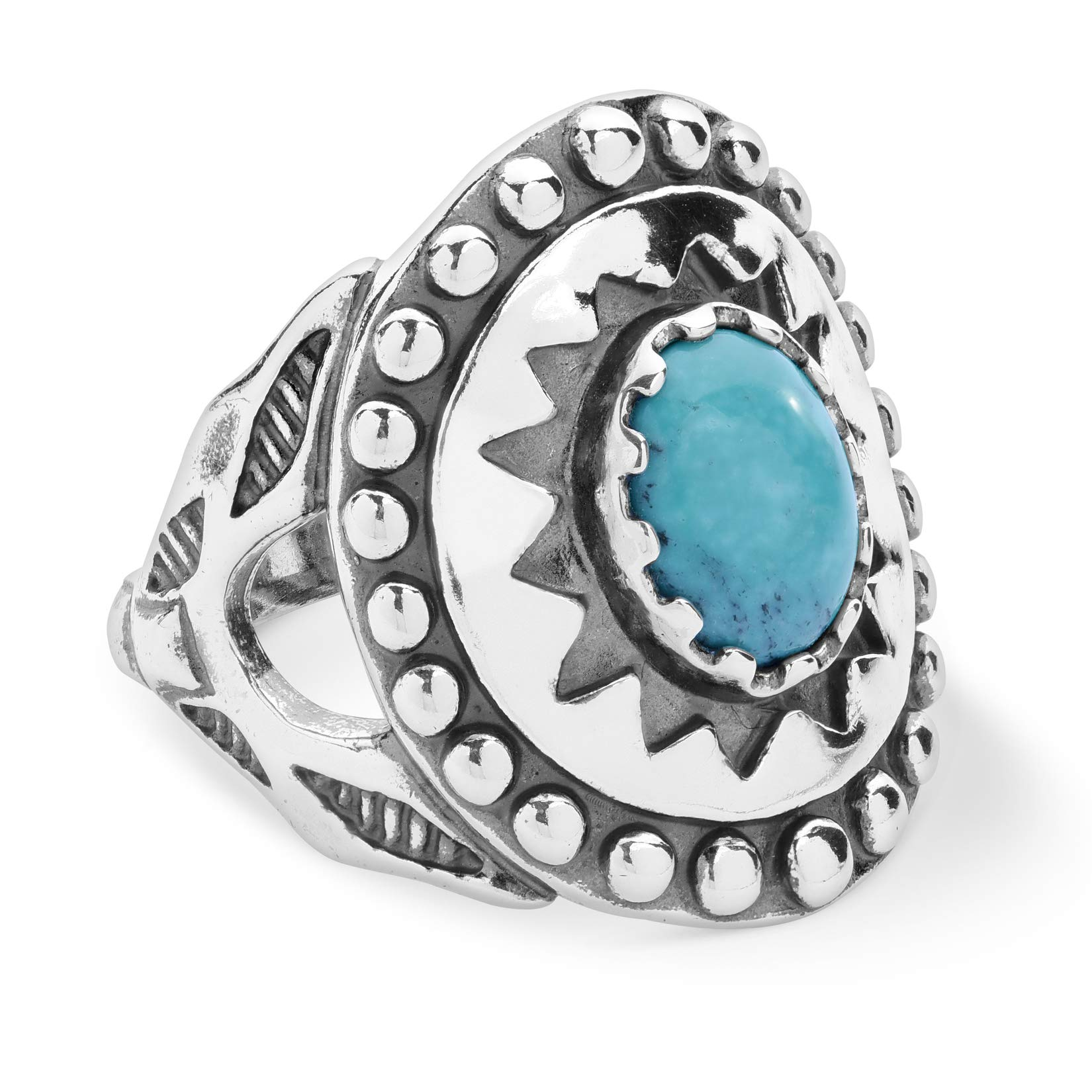 American West Sterling Silver Multi Gemstone Choice of 4 Colors Sunburst Shield Ring Size 5 to 10