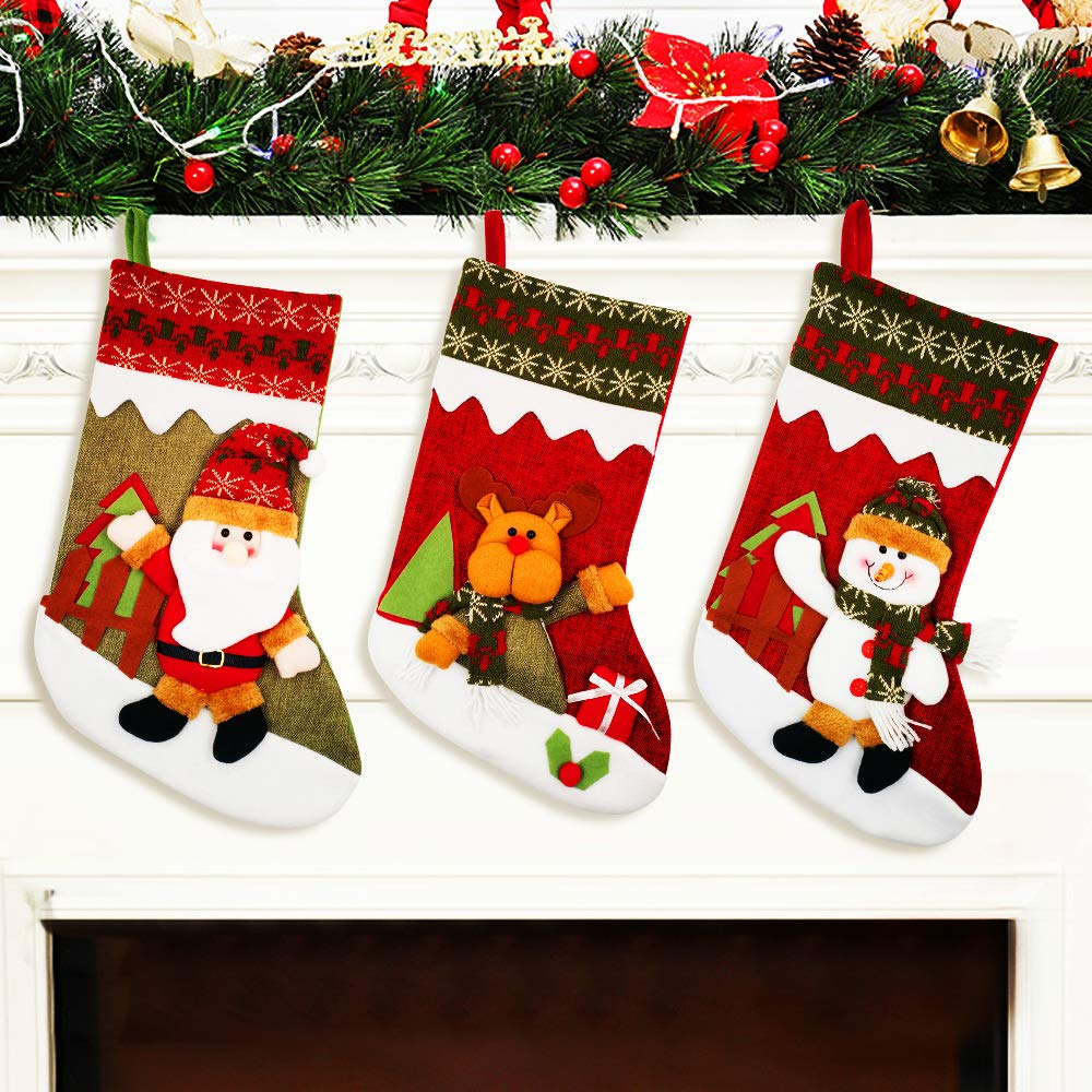 "YAMUDA Christmas Stocking, 18"" Set of 3 Santa, Snowman, Reindeer, Xmas Character 3D Plush with  Rustic Burlap Christmas Decorations and Party Accessory(Artwork-08)"