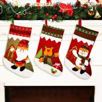 """YAMUDA Christmas Stocking, 18"""" Set of 3 Santa, Snowman, Reindeer, Xmas Character 3D Plush with Rustic Burlap Christmas Decorations and Party Accessory(Artwork-08)"""