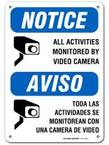 """Warning Camera in Use Video Surveillance Sign, Bilingual English/Spanish, Made Out of .040 Rust-Free Aluminum, Indoor/Outdoor Use, UV Protected and Fade-Resistant, 7"""" x 10"""", by My Sign Center"""