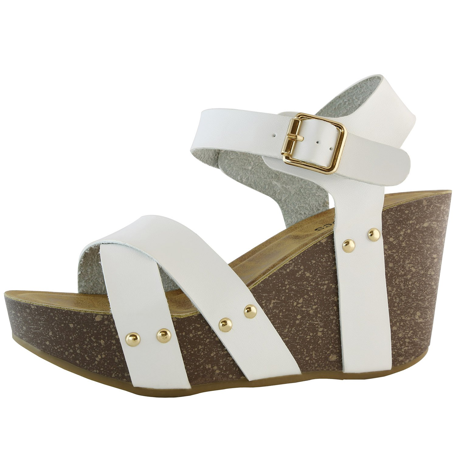 DailyShoes Chunky Slide On Wedge Heels High Wedges Sandal Ankle Strap Open Toe Platform Sandals Comfort Thick Cork Buckle Summer Shoes
