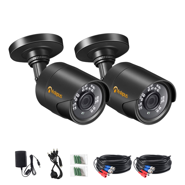Anlapus A2K-124F4-BNS HD 4-in-1 Analog/TVI/CVI/AHD Outdoor Security, 2MP 65ft Day Night Vision CCTV Surveillance 960H/720P/1080P DVR, 2pk 1080p Cameras