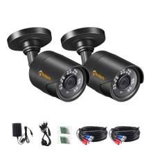 Anlapus 2PK 1080P HD TVI Outdoor Bullet Security Camera, 2MP 80ft Day Night Vision Video Surveillance Cameras for CCTV DVR System