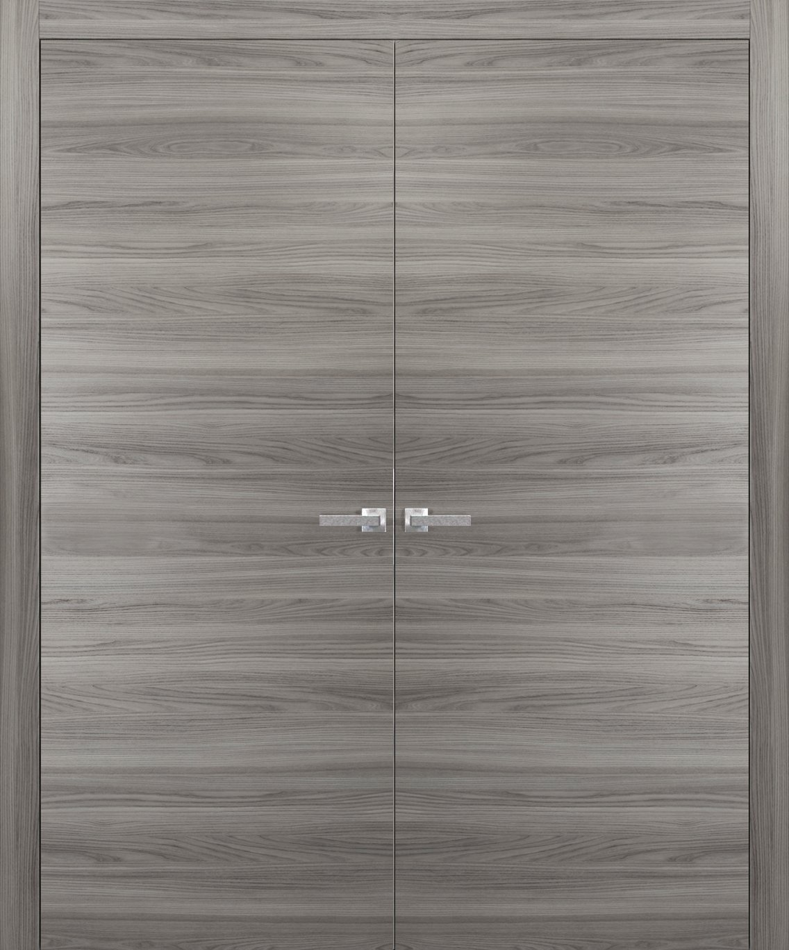 French Double Doors 64 x 80 inches with Hardware | Planum 0010 Ginger Ash | Trims Lever Hinges | Solid Pre-hung Door Flush Modern Design