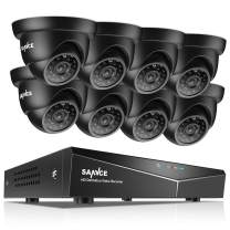 SANNCE 8-Channel HD 1080N Home Security Camera System and (8) 720P Indoor/Outdoor Weatherproof Cameras with IR Night Vision LEDs, Remote Access - NO HDD