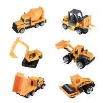 Hautton Diecast Engineering Cars Toy Vehicles, 6 Pack Alloy Metal Army Toys Model Cars Playset Excavator Bulldozers Road Roller Forklift Truck Toy Cars for Kids Boys Toddlers