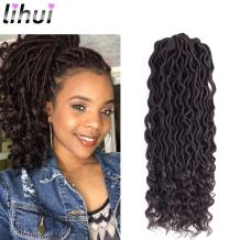 """Lihui 6Pcs/Lot Goddess Locs Faux Locs Crochet Hair Wavy Faux Locs with Curly Ends Synthetic Braiding Hair Extension (14"""", 4 Color)"""
