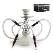 """GStar 11"""" Premium 2 Hose Hookah Complete Set - Mini Pumpkin Hookah Glass Vase - Pick Your Color (Snow White + Case)"""
