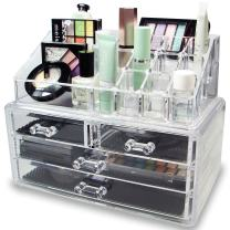 Arolly Makeup Cosmetic and Jewelry Organizer for Lipstick/Eyeshadow/Brushes Jewelry and More in One Place Storage Drawers, Clear, Medium, 2 Piece Set