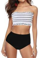 papasgix Womens Swimsuits Bandeau Bikini Smocked Off Shoulder Top High Waisted Swimsuit Bottom Two Piece Bathing Suit