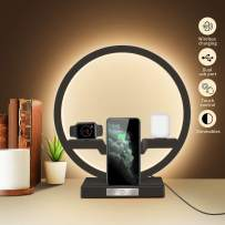 Eye- Care Table Lamp with Wireless Fast Charger, Touch Control Bedside Lamp with USB Port, Wamkos 3 Dimmable Color Temperatures Bedroom Lamps for LED Light Lamps, Modern Night Lamps for Desk (Black)