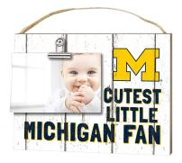 """KH Sports Fan 10""""x8"""" Michigan Wolverines Clip It Weathered Baby Logo Collage Photo Frame, White"""