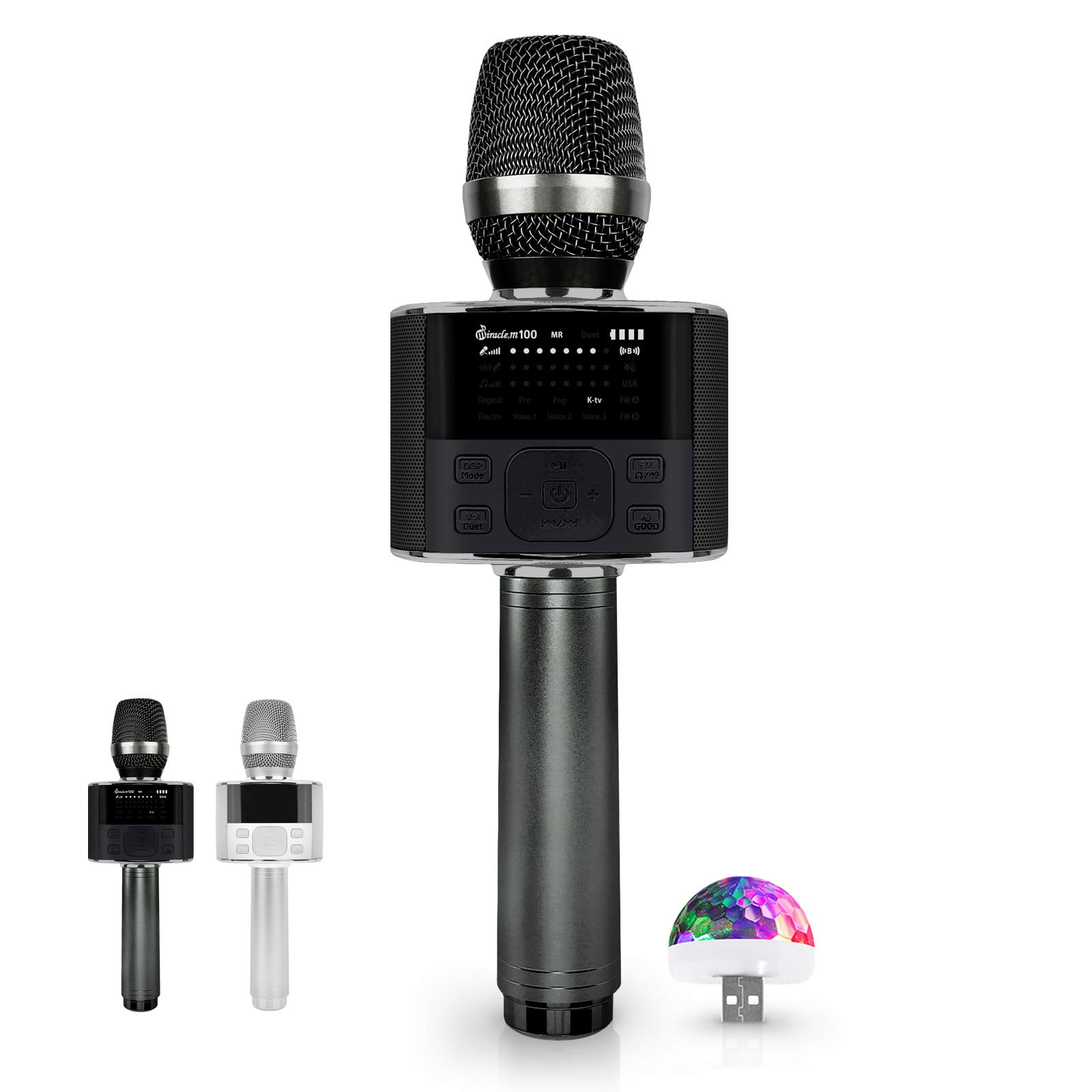Wireless Bluetooth Karaoke Microphone, with LED Screen, Portable Handheld MIC & Speaker for Birthday, Home Party, Presentation Android/iPhone/PC, car Microphone