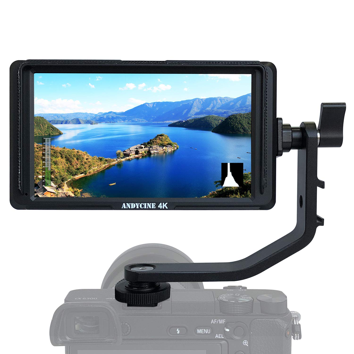 ANDYCINE A6 Lite 5inch DSLR HDMI Camera Field Monitor 1920x1080 Video Peaking Focus assits HDMI Input and Output DC Output with Tilt Arm