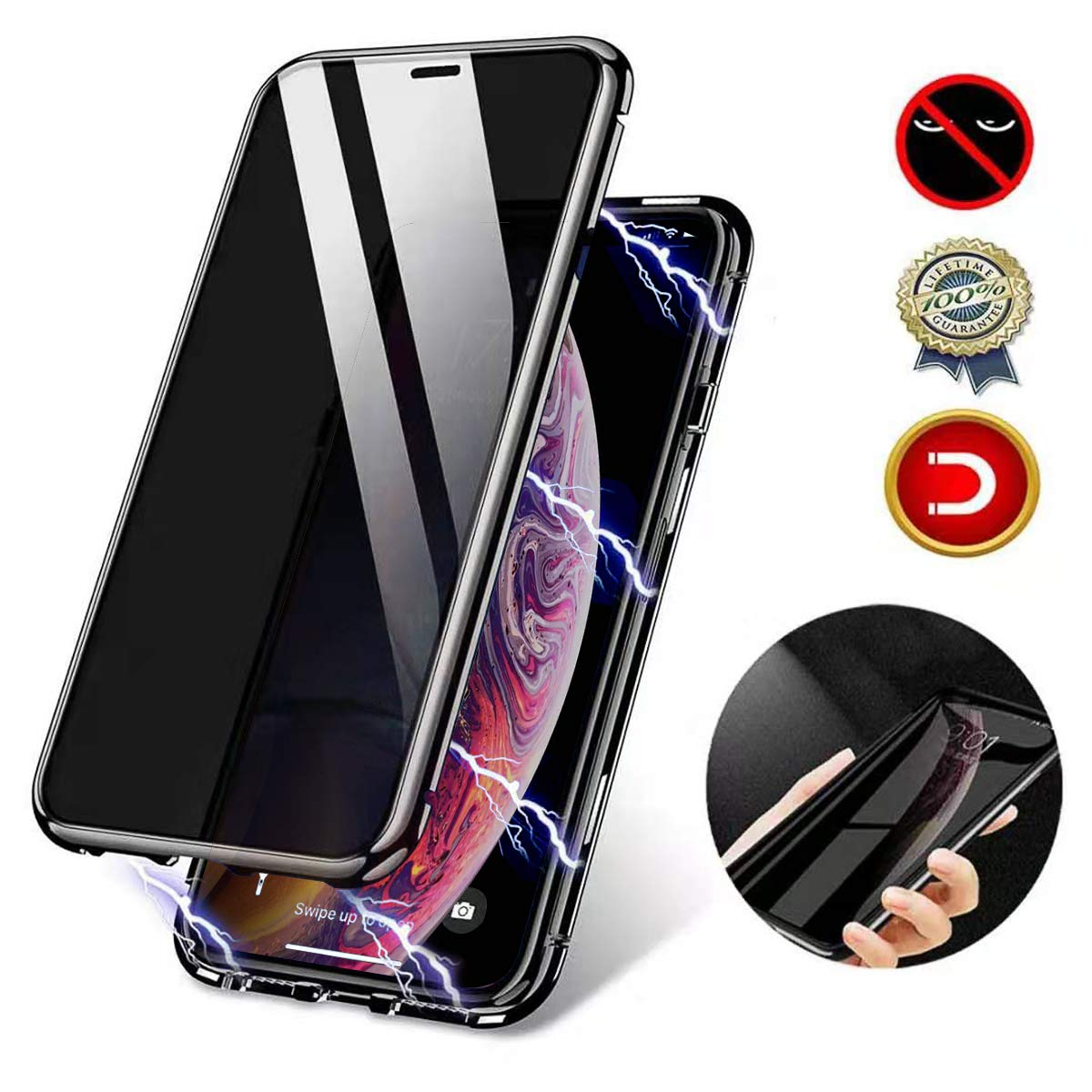 Privacy Magnetic Case Fit for iPhone 11 Pro Anti-peep Clear Double Sided Tempered Glass Magnetic Adsorption Double-Sided Privacy Screen Protector Anti-spy Case for iPhone 11 Pro Black