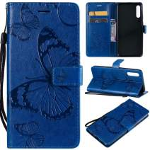 Cmeka 3D Butterfly Wallet Case for Samsung Galaxy A20E with Credit Card Slots Holder Magnetic Closure Slim Flip Leather Kickstand Function Protective Case Blue