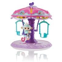 WowWee Fingerlings Playset: Twirl-A-Whirl Carousel with 1 Fingerlings Baby Monkey - Abigail, Light Blue/Pink