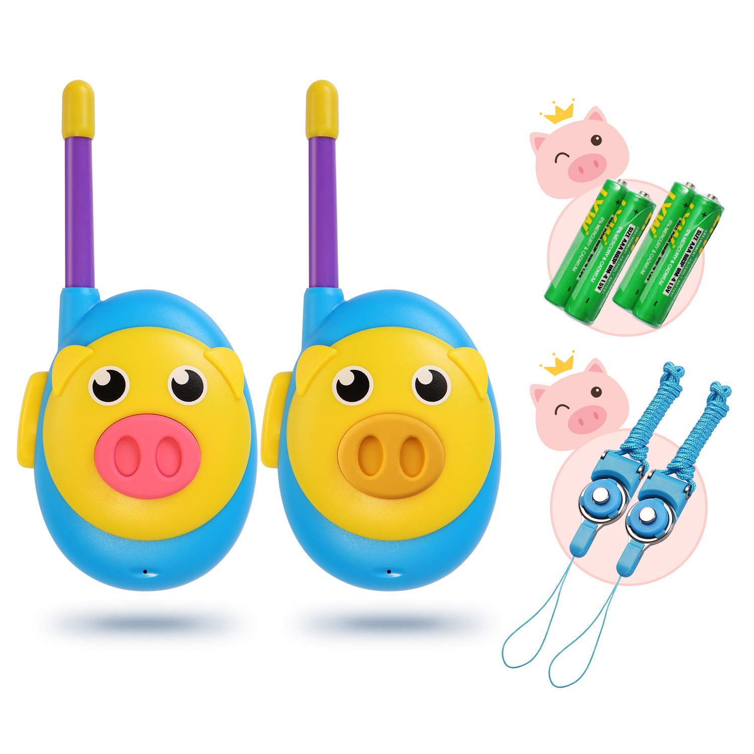 iRaddy KD10 Kids Walkie Talkies Toys for 3-12 Years Old Boys Girls, Cute Pre-Kindergarten toys Birthday Gift with Batteries, 2 Pack