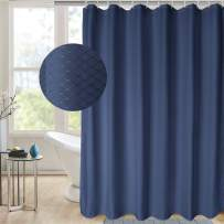 AooHome Stall Size 36x72 Inch Shower Curtain, Polyester Weave Waffle Bathroom Curtain with Hooks, Weighted Hem, Heavy Duty, Water Repellent, Blue