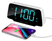 SHANLONYI Digital Alarm Clock Radio with 9 Inch Cyan LED Display, 3 Dimmer, Snooze, FM Radio, 12/24H, Auto DST, USB Chargers, Battery Backup for Kids, Heavy Sleepers, Elderly