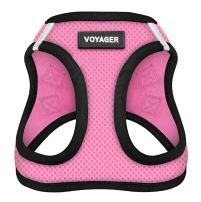 """Voyager Step-In Air Dog Harness - All Weather Mesh, Step In Vest Harness for Small and Medium Dogs by Best Pet Supplies - Pink Base, Large (Chest: 18"""" - 21"""")"""