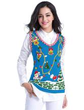 v28 Ugly Christmas Sweater for Women Vintage Funny Merry Vest Knit Sweaters