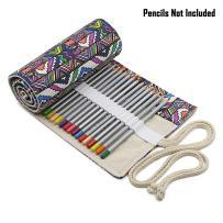 BTSKY Canvas Colored Pencil Roll Wrap 72 Slot-Adult Coloring Pencil Holder Organizer for 72 Colored Pencils, NO Pencils (Bohemian)
