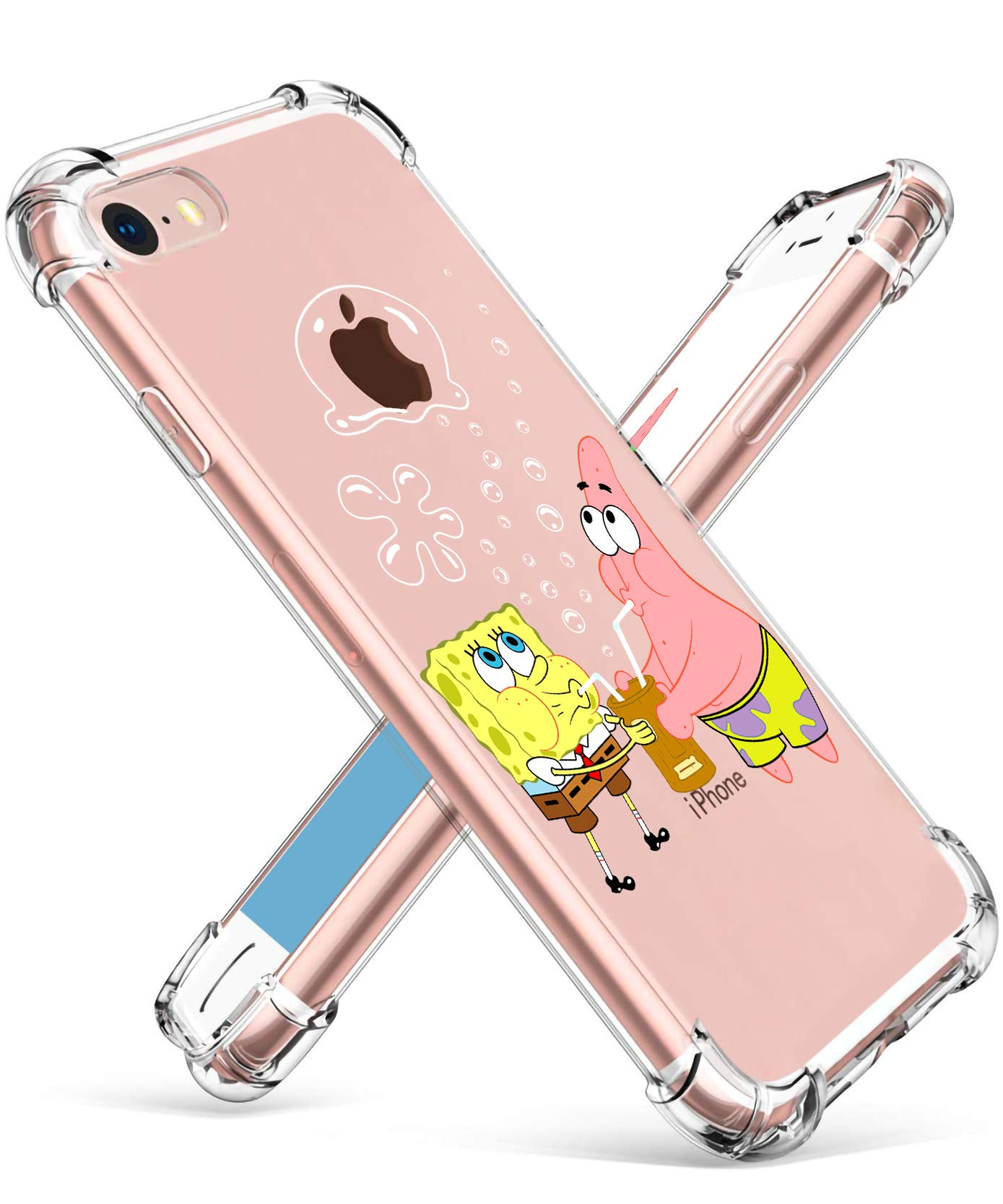 """Coralogo for iPhone 7/8 TPU Case, 3D Cute Cartoon Funny Design Stylish Character Protective Kawaii Fashion Fun Unique Cool Cover Skin Teens Kids Girls Boys Cases for iPhone 7/8 4.7"""" (Sponge Patrick"""