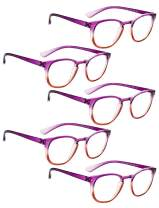 READING GLASSES 5 pack Fashion Readers for Women(One for each color)